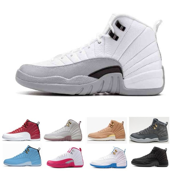 2018 TOP 12 High Cut Basketball Schuhe für Männer 12s weiß schwarz Wolf grau Barons blau Wildleder Herren Basketball Stiefel Turnschuhe Größe US7-13