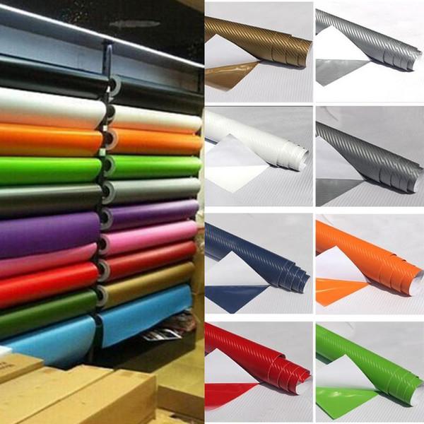DIY 10x127 3D Fiber De Carbone Decal Film De Vinyle Wrap Roll Adhésif De Voiture Feuille D'autocollant 2pcs / ensemble