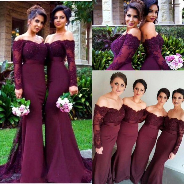 best selling 2019 Burgundy Long Sleeves Bridesmaid Dresses Sexy Backless Off Shoulders Appliques Sequins Long Prom Dress Bridesmaid Dress Formal