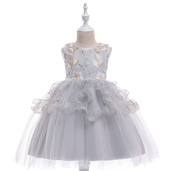 20PCS Girls Party Dress Princess Costume Kids Dresses Flower Embroidery Children Veil Tutu Vestido