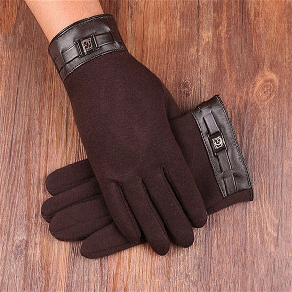 Popular Solid Color Touch Screen Gloves Male Men Winter Warm Gloves Mittens 3118