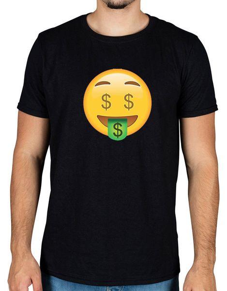 Geld Gesicht Emoji T-Shirt Symbol Lustige Neuheit Android Apple Racks Dollar Lächeln Stil Vintage Tees Kurzarm Lustige Mann / Junge T-Shirt