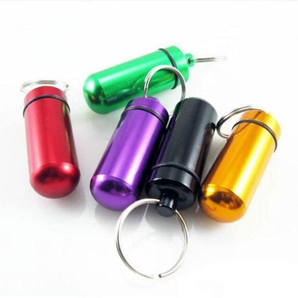 Free Shipping Travel Keychain Pill Box WaterProof Aluminum Case Bottle Holder Container Medicine Storage Organizer Container Case