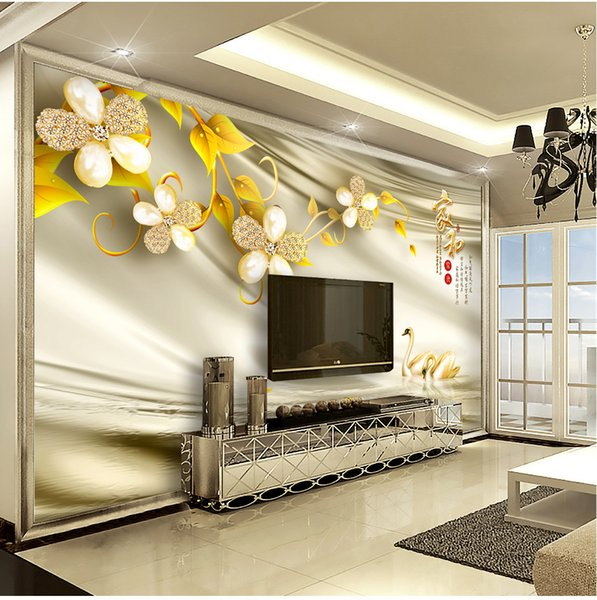 Custom Retail 3D Home And Swan Luxury Jewelry Decorative Flower Interior TV  Background Wall Decoration Mural High Quality Wallpapers High Quality ...