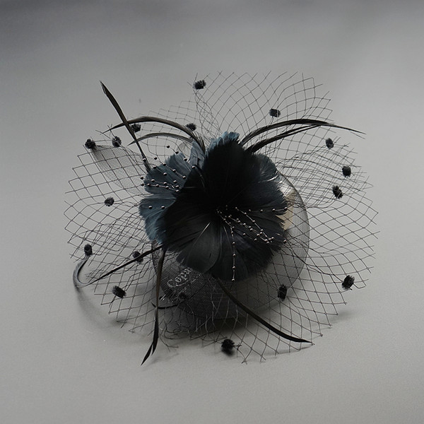 2018 New Black Fascinators Has for Wedding Hats Bridal Hair Accessories Cocktail Hats Party Headwearsv Free Shipping