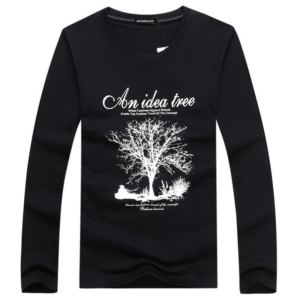 Tshirt Long Sleeve Men T-Shirt 5XL T shirt Autumn Clothes Wishing Tree Print Leisure Fashion hot Designer Casual BY059