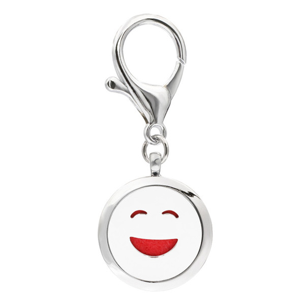 Mixed styles KeyChain Essential Oil Aroma Diffuser Perfume Locket with Lobster clasp Keychain keyring With 5pcs free Pads KA101-KA110