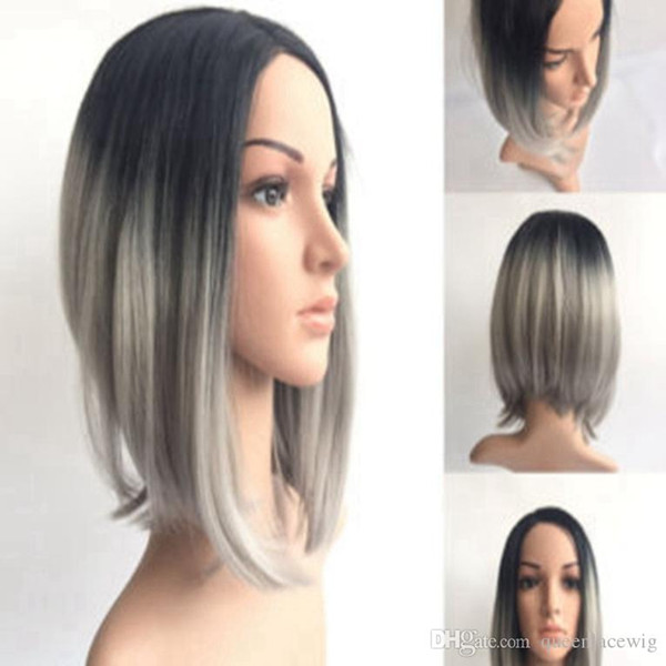 Omber Silver Gray Short Wigs Synthetic Lace Front Hair Natural Straight Black Grey Bob Wig For Black White Women Heat Resistant