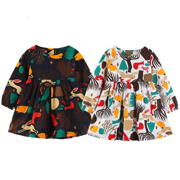 Baby Girls Forest Tree Animal Dress Floral Printed Kids Baby Long Sleeve Dress Autumn Casual Dresses Outfit Clothes 2-6T