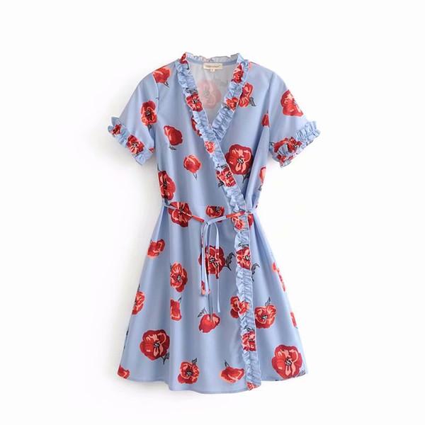 Pequeño estampado de flores frescas de verano azul algodón casual de manga corta con cuello en V de manga corta con cuello en V una línea de vestido hasta la rodilla vestido de Corea