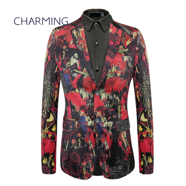 Red man suit ,mens italian suits, luxury velvet fabric printing process, Gentleman jacket, for singer performance wedding party dress