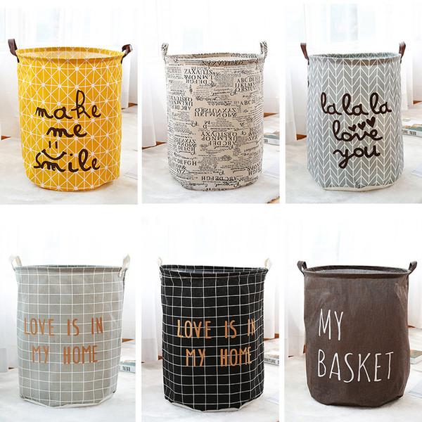 Haushalt Tuch Kunst Wäschekorb Schmutzige Kleidung Lagerung Körbe Falten Home Storage Bags Wasserdichte Organisation Körbe