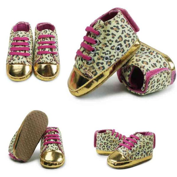 Leopard Painted Gold Toddler Shoes Baby Girls Soft Bottom Non-Slip Toddler Shoes Kids Casual Canvas Monochrome Shoes