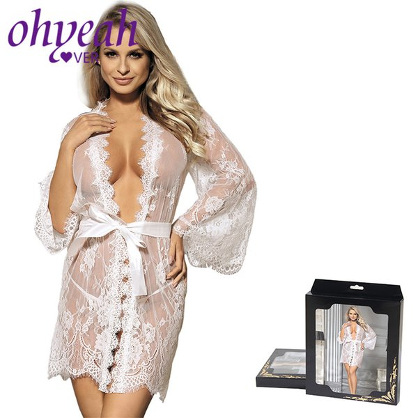 Ohyeahlover Plus Size Lace Robe Women Babydoll Lingerie Sexy Hot Erotic Sex Costumes Kimono Bathrobe Dressing Gown RF80528