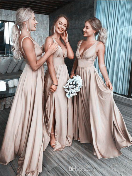 Real Image 2019 Sexy Long Gold Bridesmaid Dresses Deep Neck Empire Split Side Elastic Silk Like Satin Beach Boho Bridesmaid Gowns
