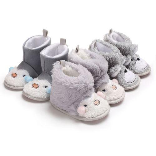 canis newest cute Infant Kid Baby Boy Girl unisex Winter Warm fur cartoon Soft Snow Boots Booties Crib Shoes 0-18M