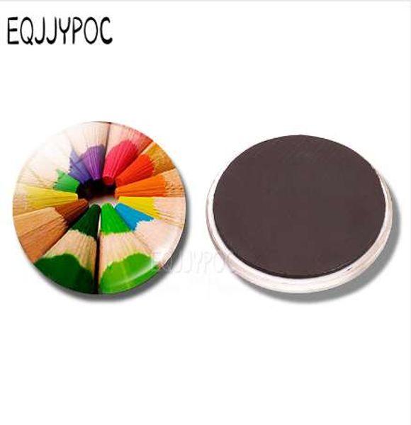 Coloring Pencils Refrigerator Magnet 30MM Glass Cabochon Round Magnetic Sticker Fridge Magnet Rainbow Artist Painters Home Decor