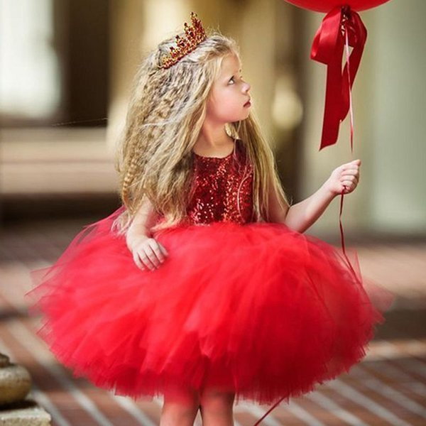 Cute Red Cupcake Flower Girls Dresses Sequins Tulle Tutu Knee Length Infant Children Birthday Party Dresses