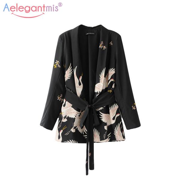 Aelegantmis Fashion Bird Print Blazers Women Black Kimono Cardigan Autumn Casual Notched Collar Sashes Blazer Ladies Suit