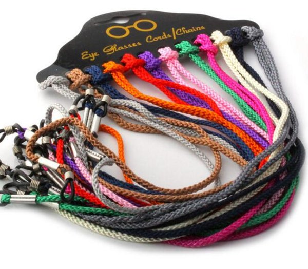 12pcs / Pack 꼰 나일론 안경 스트랩 체인 목걸이 선글라스에 대 한 목에 코드 문자열 읽기 안경 여러 가지 빛깔의 끈 홀더 블랙