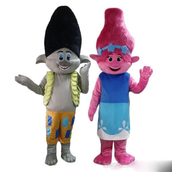 2018 Мак от Dream works тролли фильм Хэллоуин костюм талисмана необычные платья взрослых размер Бесплатная доставка