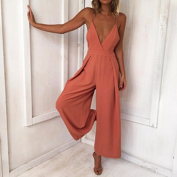 Spring 2018 Female V-Neck Hollow Butterfly Knotted Back Loose Woven Jumpsuits Orange Fashion Sling Sexy Women Mid Waist Rompers