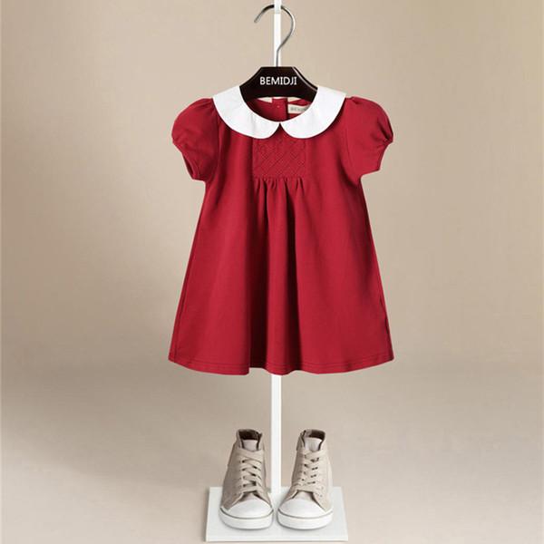 I bambini indossano abiti da principessa estivi Abito rosso solido Abito in puro cotone da bambino moda da bambina