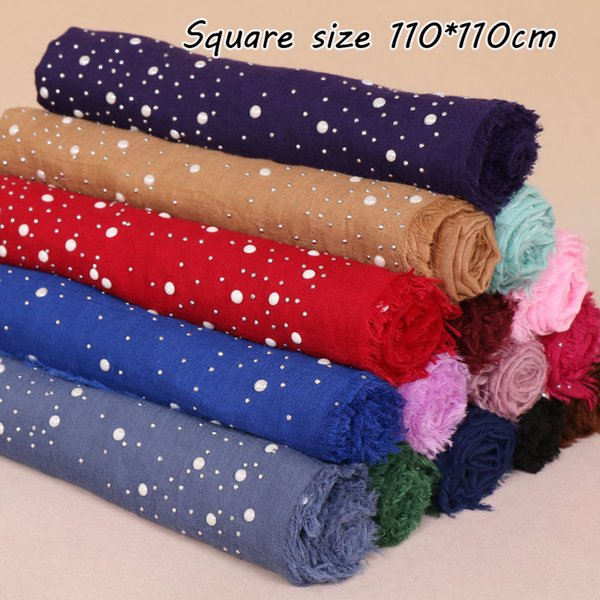 Fashion Brand High Quality Square Scarf Maxi Cotton Pearl Sequins Women Scarves Shawls Wraps Muslim Hijab Pashmina Winter Autumn Headscarf