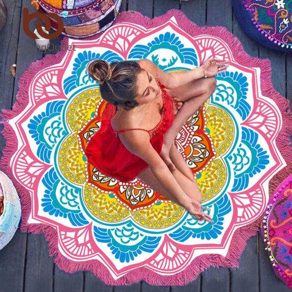 Top Quality Tassel Indian Toalla Mandala Tapestry Beach Towel Sunblock Round Bikini Cover-Up Blanket Lotus Bohemian Yoga Mat