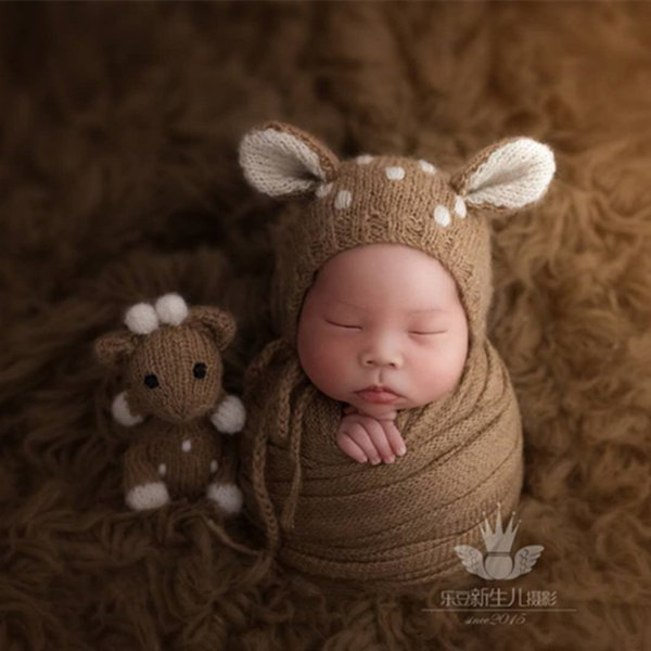 Newborn bonnet hat matched Lovely toy Photography props Crochet mohair baby fawn bonnet toy set Baby beanie hat photo props