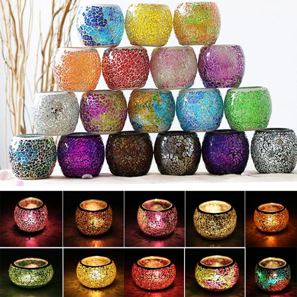top popular Crystal Mosaic Glass Candle Holder Candlestick Centerpieces For Valentines Day Wedding Decoration Candle Lantern Not Candle WX9-319 2021