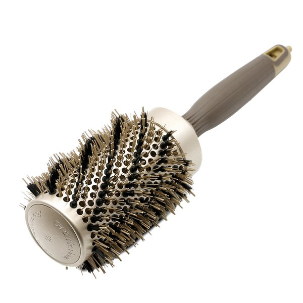 New Gold Boar Bristle Hair Curly Brush Round Hair Ceramic Ionic Brushes With Tail Natural Styling Hair Curling Round Comb 4 Size
