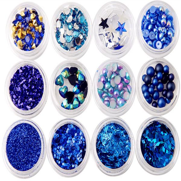 12pcs/set Sapphire Sequins Set Royal Blue Circular Diamond Sequins Powder Pearl Pentagram Decor DIY Nail Art Decorations MZ0509