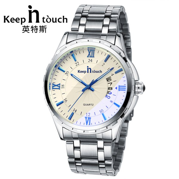 KEEP IN TOUCH Luxury Watch Men Quartz Luminous Calendar High Quality Man Watches Sapphire Crystal Retro Relogios Masculino S917