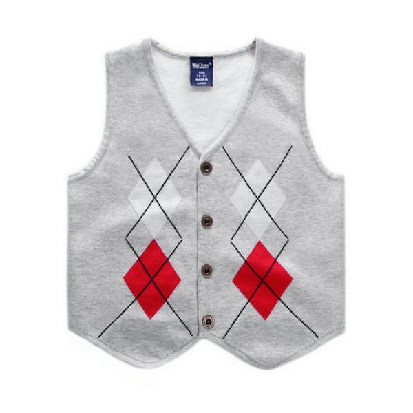 Boys Knit Vest Spring Autumn Sleeveless Diamond Children Tops Outfits Casual Gentleman Baby Costume Kids Waistcoat