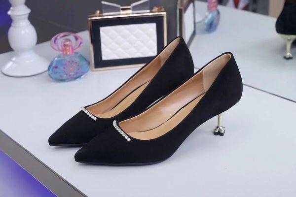 2018 Summer New Shoes, Lady Sandal ,Women Slides Suede High Heels Thin Heels Diamond High Quality Original Package(Dust bag+box) #309P