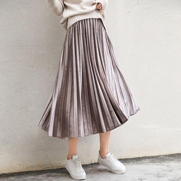Primavera 2019 Mujeres Largo Metallic Silver Maxi Falda plisada Midi Falda de cintura alta Elascity Casual Party Falda
