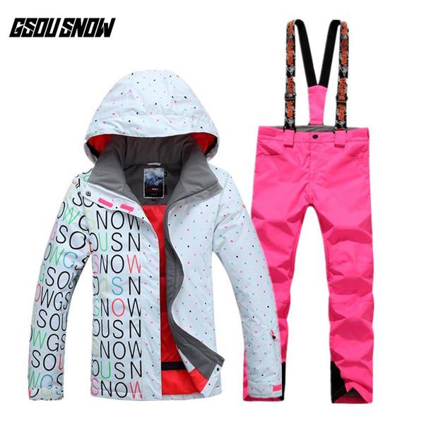 Großhandel GSOU SCHNEE Marke Wasserdichte Skianzug Frauen Ski Jacke Hosen Winter Snowboard Jacke Hosen Berg Skifahren Anzug Schnee Kleidung Von