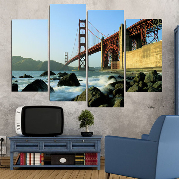 Free shipping 4 Panel Golden Gate Bridge Large HD Home Decorative Picture Wall Art Print Modern Painting on Canvas for Living Room (Unframed