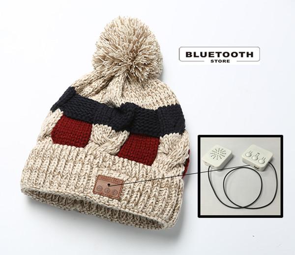 Casquette Bluetooth sans fil pour musique JP4 épaissir avec Pompon au chaud en hiver Casque stéréo Casque mains libres Longue veille Délai Voix claire