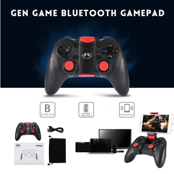 GEN GAME S6 Deluxe Wireless Bluetooth Gamepad Spiel Controller für iOS Android Smartphones Tablet Windows PC TV Box mit Halterung