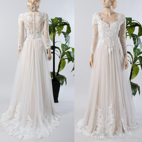 A-Line Long Sleeves Beach Wedding Dresses Country Applique Scoop Tulle Ivory Illusion Bodice Bridal Dresses Wedding Gown 2017