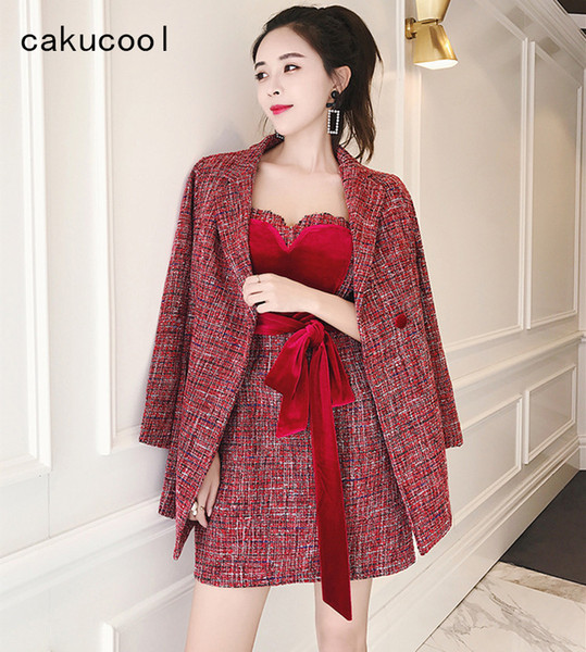 Cakucool New Autumn Two Piece Set Women Woolen Skirt Set Elegant Work 2pcs Women 2piece Outfit Slim Red Wine Bow Chandal Mujer