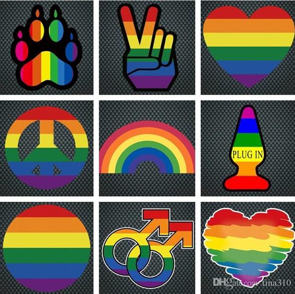 Fensteraufkleber Regenbogen Homosexuell Aufkleber Stolz Regenbogen Herz Aufkleber / Bear Paw / Regenbogen Hand Friedenszeichen / ARCH Aufkleber dekorative Aufkleber I242