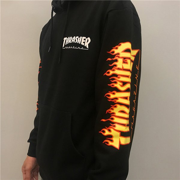 Men Women Professional Jackets Classic Armband Flame Hooded Sweater Hoodie Super Fire Couple Clothing with Printing Letters Size M-XXL