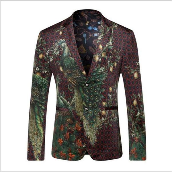 Al por mayor-Hombres Blazers y Chaquetas 2016 Peacock Blazer impreso hombres de la moda del diseñador del juego Blazer Masculino abrigo ocasional vestido de novia HZ416