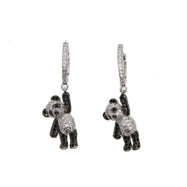2018 girl gift jewelry lovely cute animal charm dangle earring micro pave cz black white dog bear charm adorable earrings