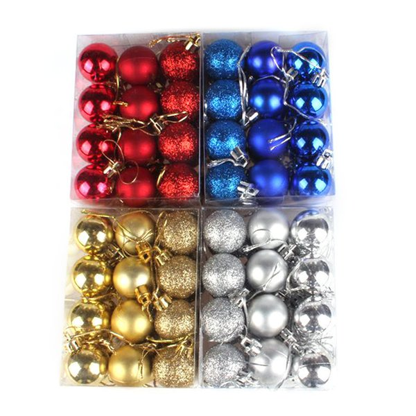24pcs/lot Solid Color Xmas Tree Ball Bauble Hanging Ornament Christmas Decoration Home Party Holiday Decoration