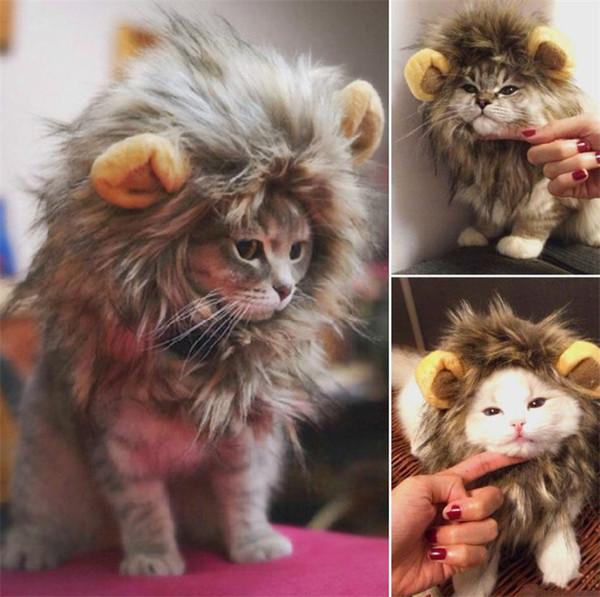 Adorable disfraz de mascota Leones Melena Invierno Cálido gato Fiesta de Navidad de Halloween Vestido con oreja Ropa para mascotas Gato Vestido de lujo I263