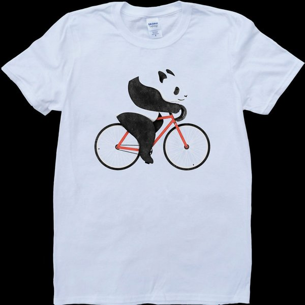 Panda on a Bicycle White, Custom Made T-Shirt